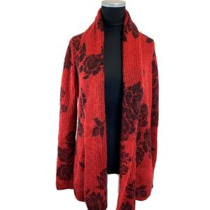Lucky Brand Red Rose Cardigan M